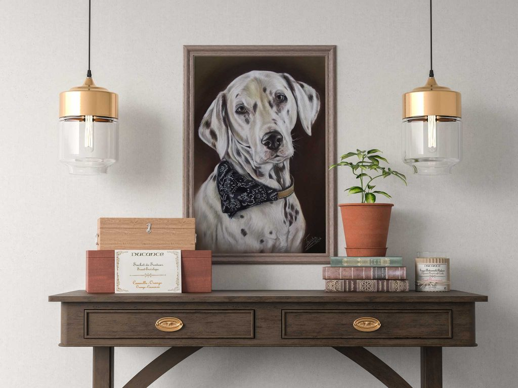 Dalmatian in pastel - Image of framed dog portrait